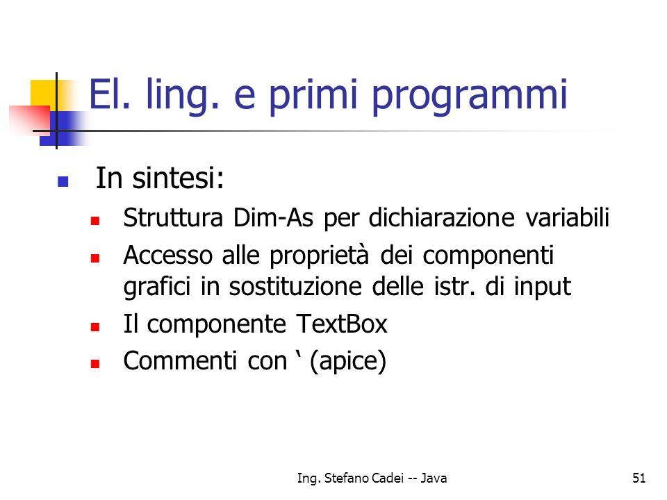 El. ling. e primi programmi