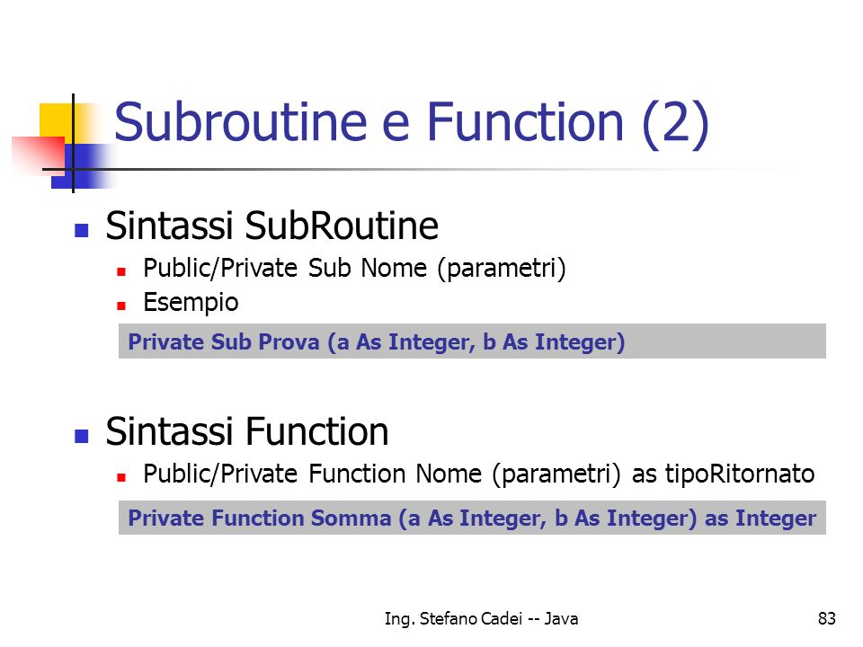 Subroutine e Function (2)