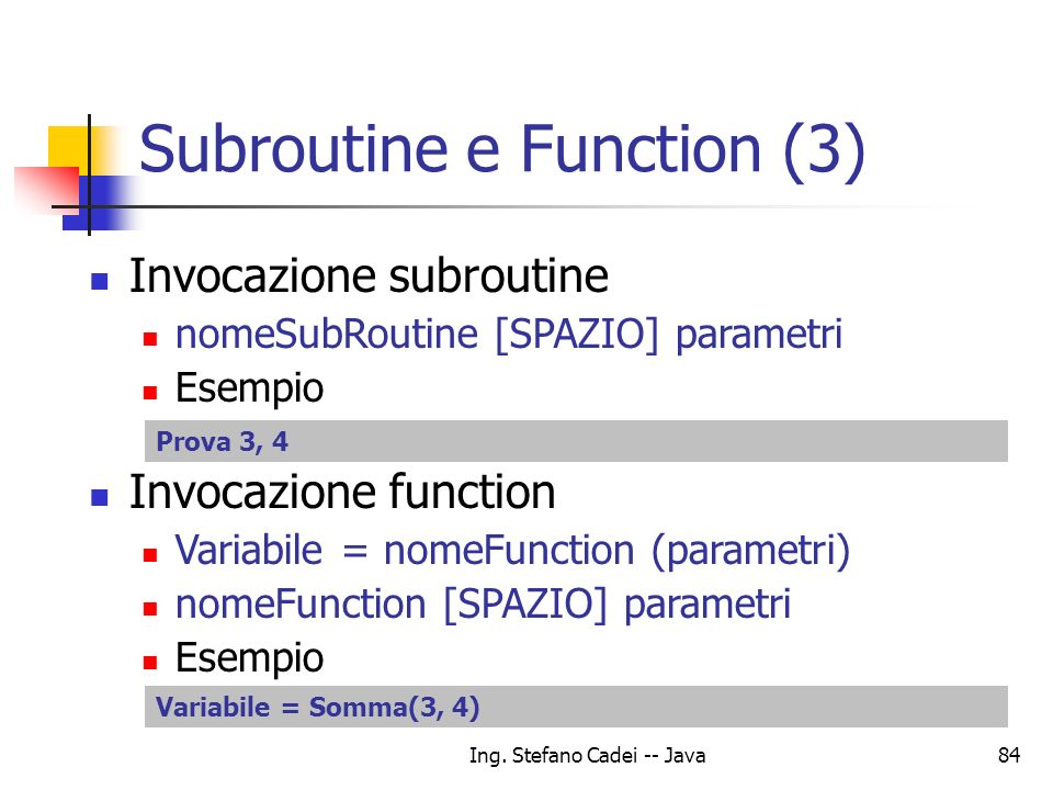 Subroutine e Function (3)