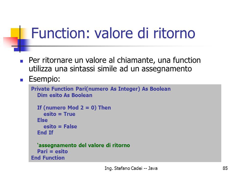 Function: valore di ritorno