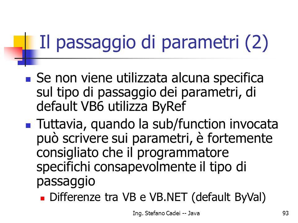 Il passaggio di parametri (2)