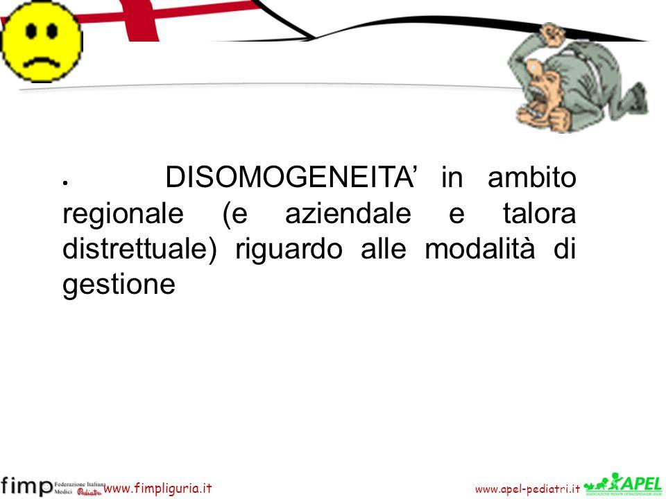 · DISOMOGENEITA' in ambito regionale (e aziendale e talora distrettuale) riguardo alle modalità di gestione