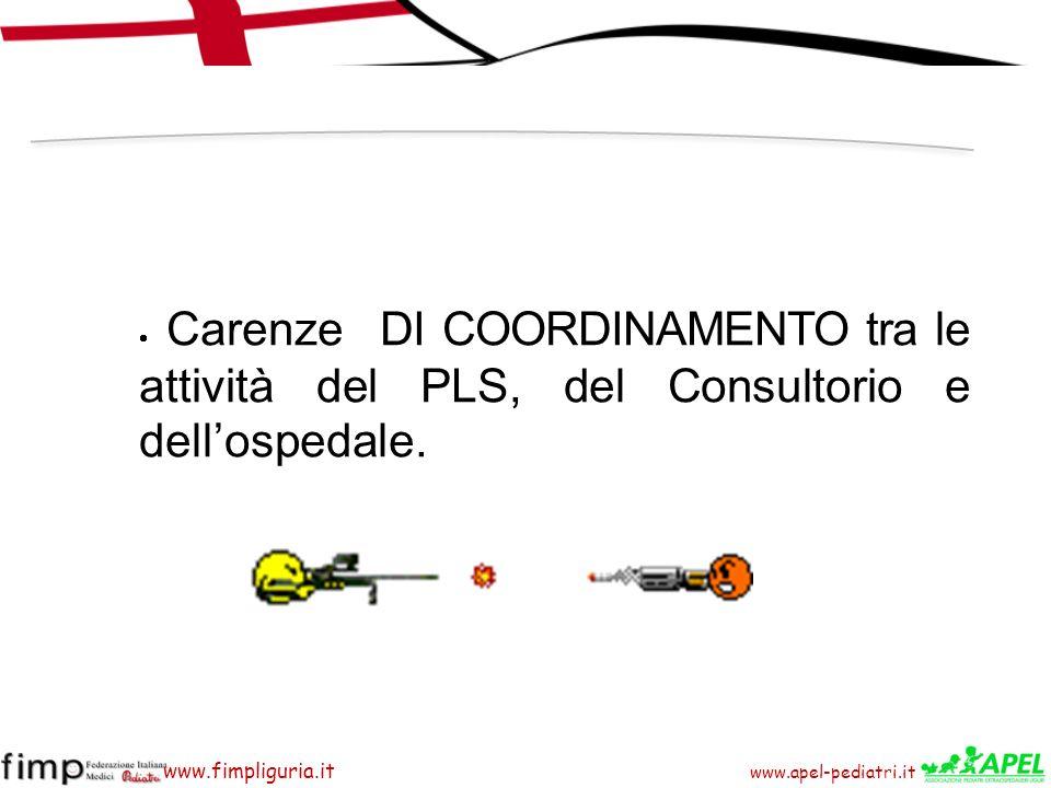 · Carenze DI COORDINAMENTO tra le attività del PLS, del Consultorio e dell'ospedale.