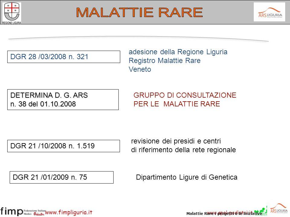 MALATTIE RARE adesione della Regione Liguria Registro Malattie Rare
