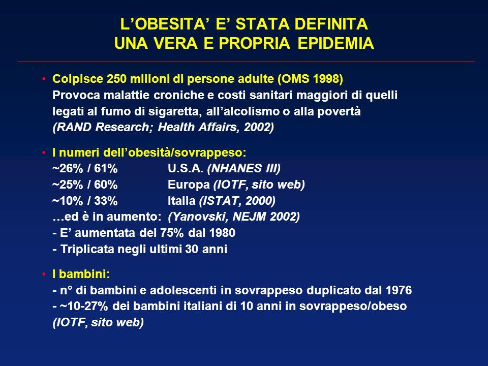 L'OBESITA' E' STATA DEFINITA UNA VERA E PROPRIA EPIDEMIA