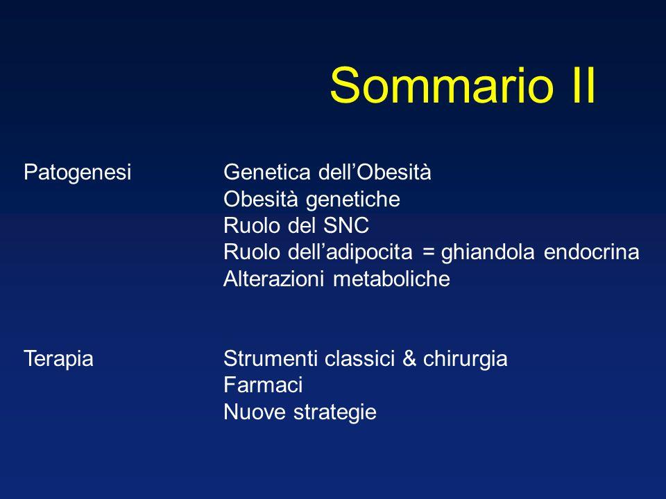 Sommario II Patogenesi Genetica dell'Obesità Obesità genetiche