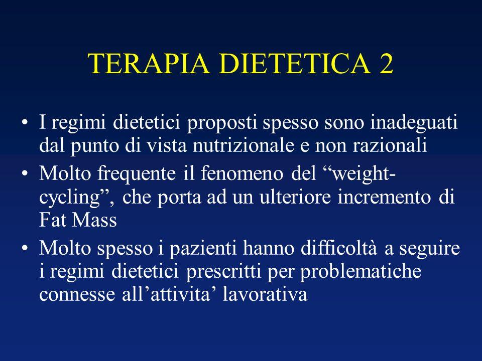TERAPIA DIETETICA 2 I regimi dietetici proposti spesso sono inadeguati dal punto di vista nutrizionale e non razionali.