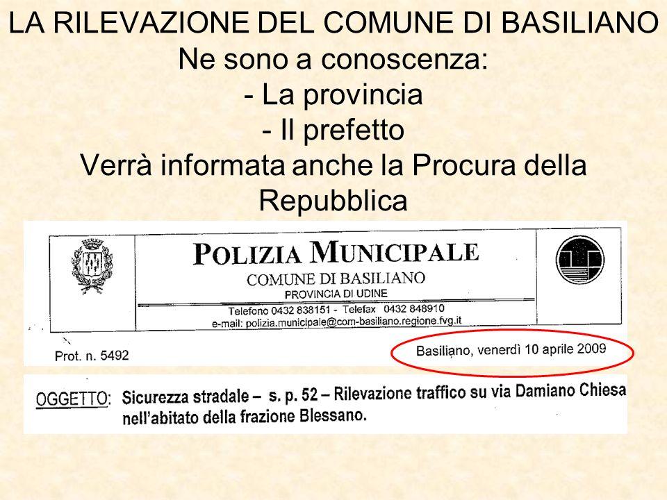 LA RILEVAZIONE DEL COMUNE DI BASILIANO Ne sono a conoscenza: - La provincia - Il prefetto Verrà informata anche la Procura della Repubblica