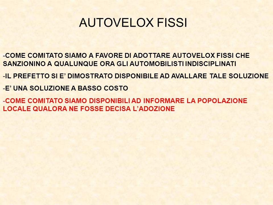 AUTOVELOX FISSI COME COMITATO SIAMO A FAVORE DI ADOTTARE AUTOVELOX FISSI CHE SANZIONINO A QUALUNQUE ORA GLI AUTOMOBILISTI INDISCIPLINATI.