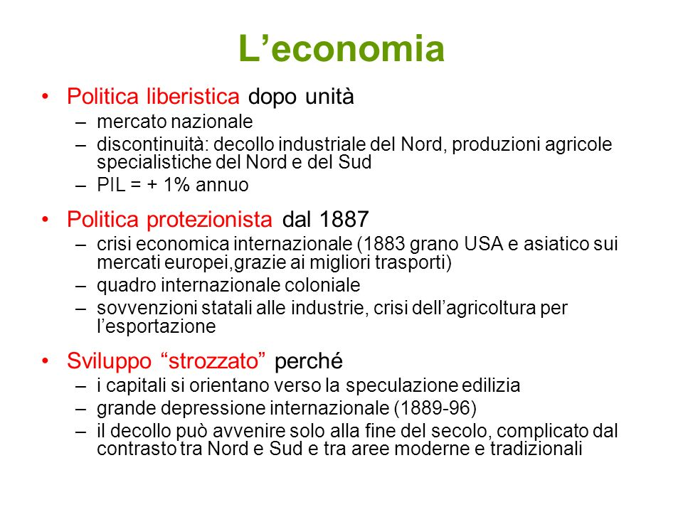 L'economia Politica liberistica dopo unità