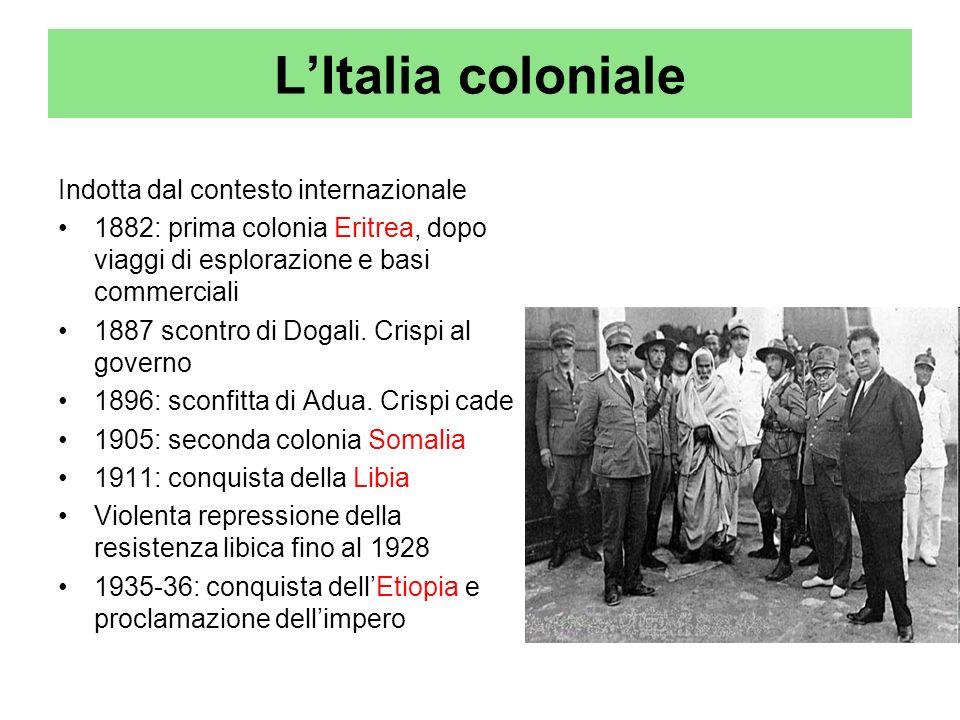 L'Italia coloniale Indotta dal contesto internazionale