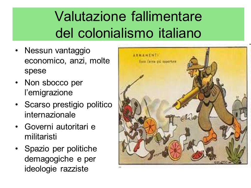 Valutazione fallimentare del colonialismo italiano