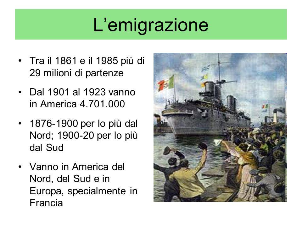 L'emigrazione Tra il 1861 e il 1985 più di 29 milioni di partenze