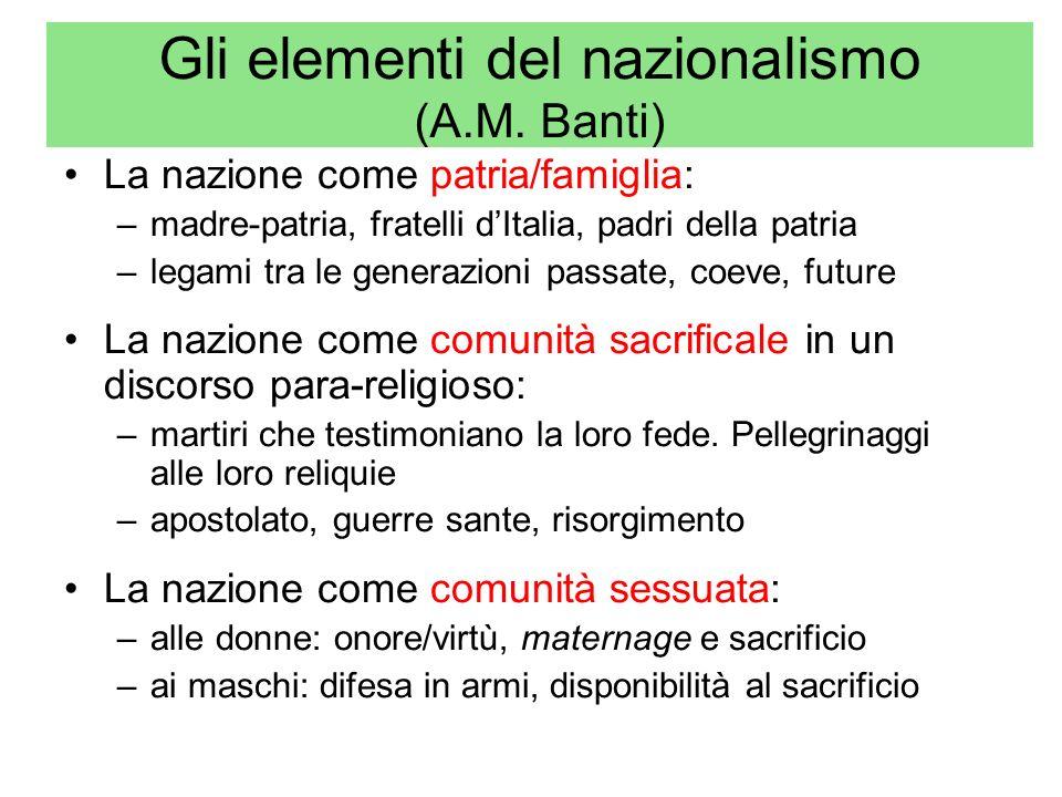 Gli elementi del nazionalismo (A.M. Banti)