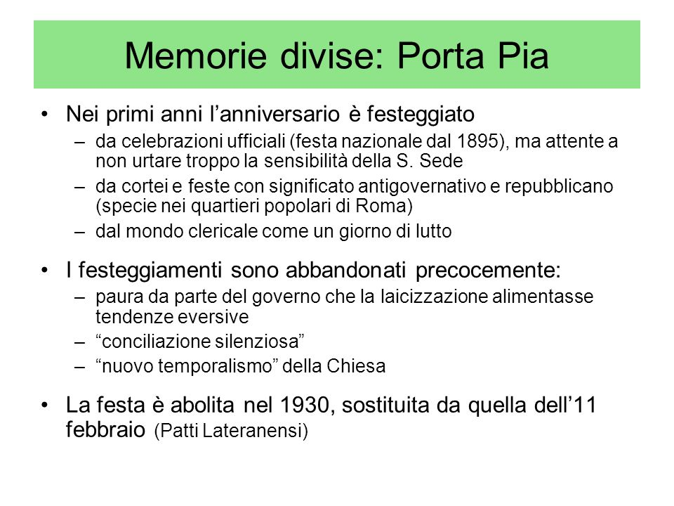 Memorie divise: Porta Pia
