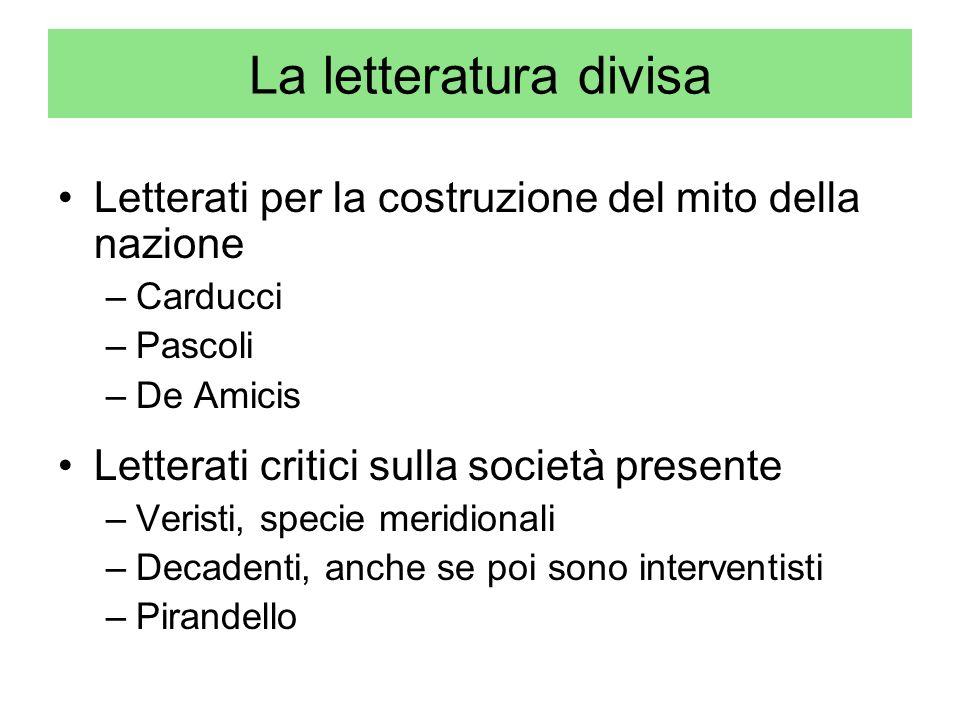 La letteratura divisa Letterati per la costruzione del mito della nazione. Carducci. Pascoli. De Amicis.