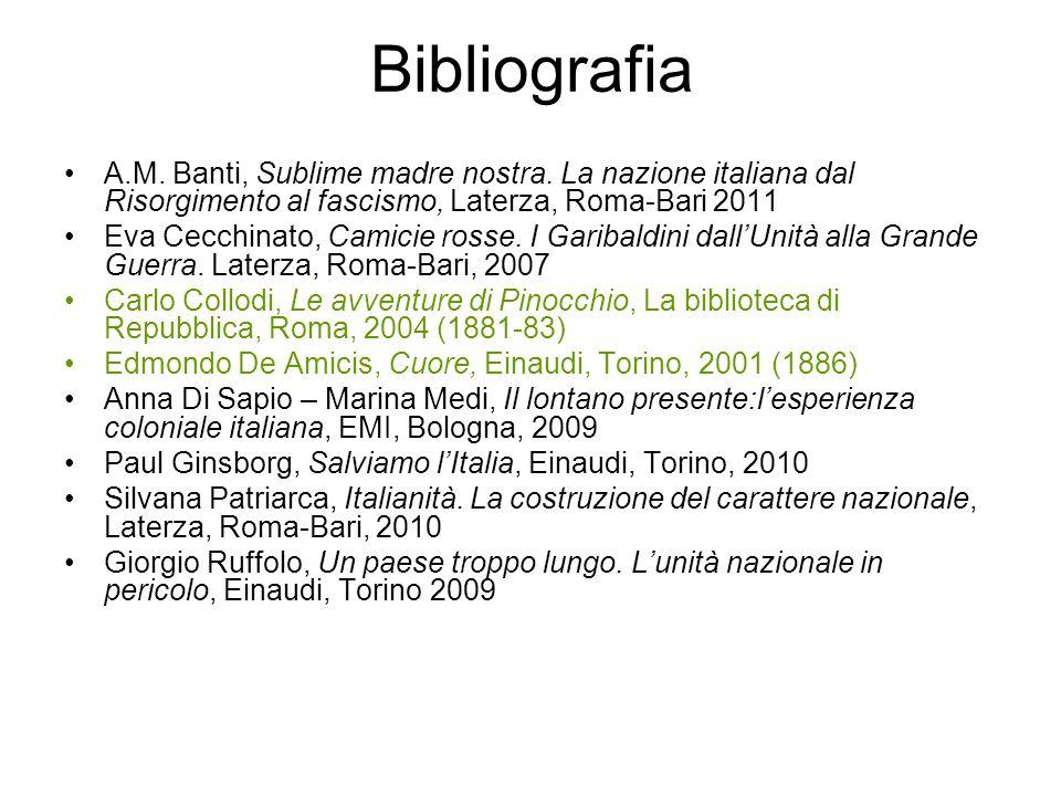 Bibliografia A.M. Banti, Sublime madre nostra. La nazione italiana dal Risorgimento al fascismo, Laterza, Roma-Bari 2011.