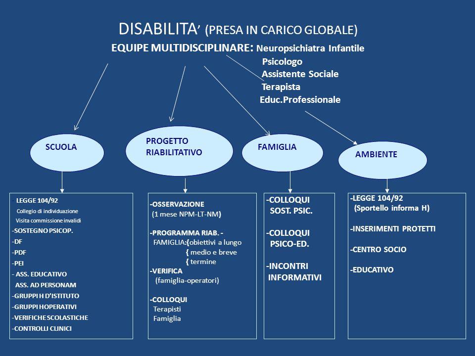 DISABILITA' (PRESA IN CARICO GLOBALE) EQUIPE MULTIDISCIPLINARE: Neuropsichiatra Infantile Psicologo Assistente Sociale Terapista Educ.Professionale