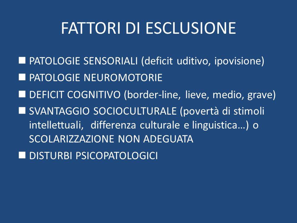 FATTORI DI ESCLUSIONEPATOLOGIE SENSORIALI (deficit uditivo, ipovisione) PATOLOGIE NEUROMOTORIE.