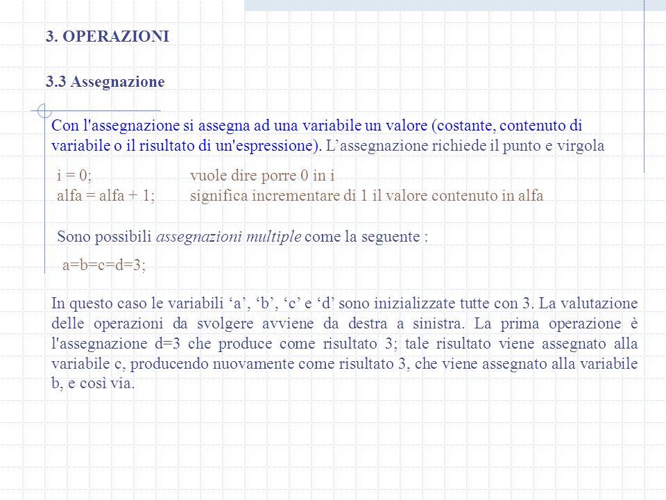 3. OPERAZIONI 3.3 Assegnazione.