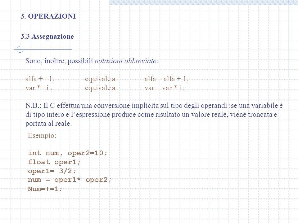 3. OPERAZIONI 3.3 Assegnazione. Sono, inoltre, possibili notazioni abbreviate: alfa += 1; equivale a alfa = alfa + 1;