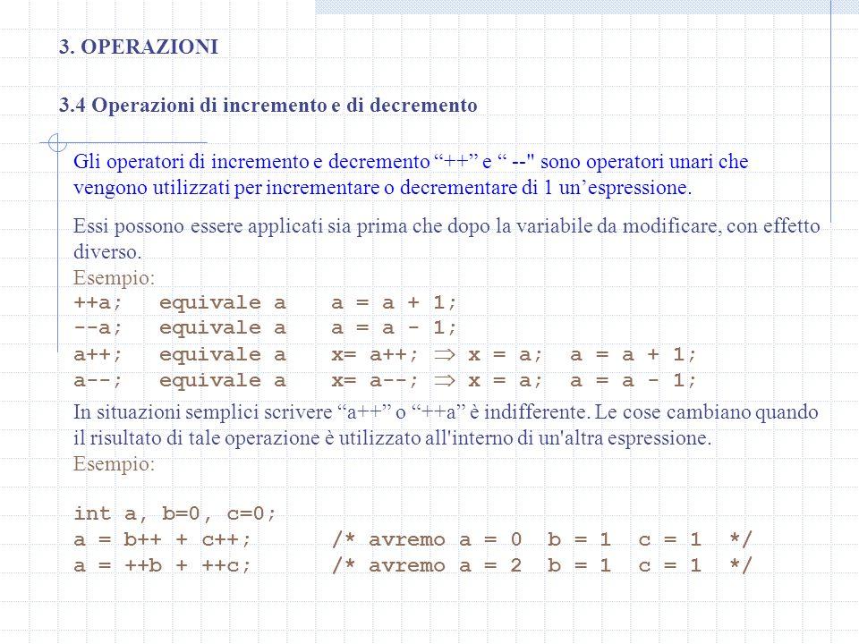 3. OPERAZIONI3.4 Operazioni di incremento e di decremento.