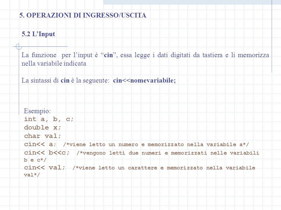 5. OPERAZIONI DI INGRESSO/USCITA