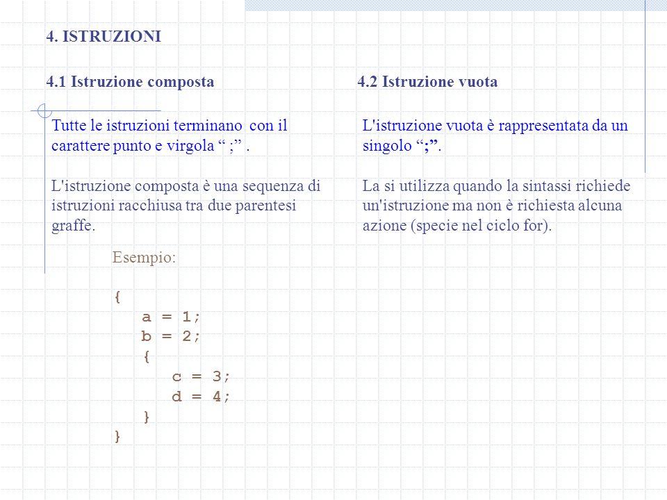 4. ISTRUZIONI 4.1 Istruzione composta. 4.2 Istruzione vuota. Tutte le istruzioni terminano con il carattere punto e virgola ; .