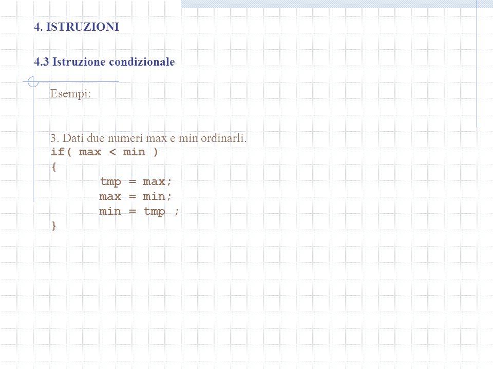 4. ISTRUZIONI 4.3 Istruzione condizionale. Esempi: 3. Dati due numeri max e min ordinarli. if( max < min )