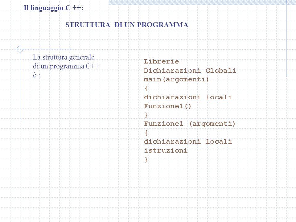 Il linguaggio C ++: STRUTTURA DI UN PROGRAMMA. La struttura generale. di un programma C++ è : Librerie.
