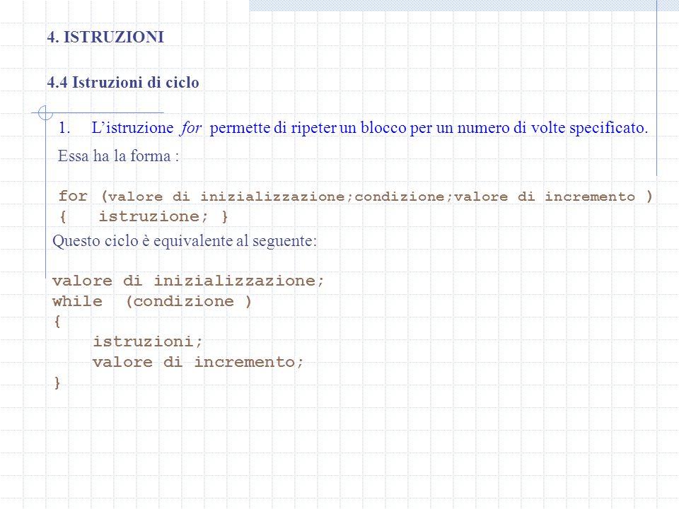 4. ISTRUZIONI 4.4 Istruzioni di ciclo. L'istruzione for permette di ripeter un blocco per un numero di volte specificato.