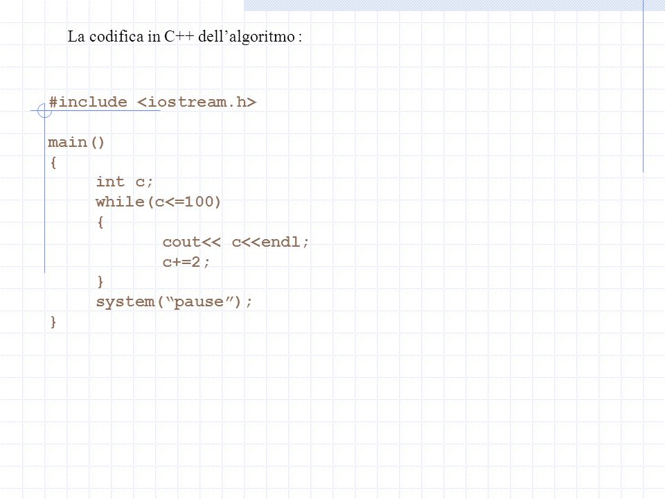 La codifica in C++ dell'algoritmo :