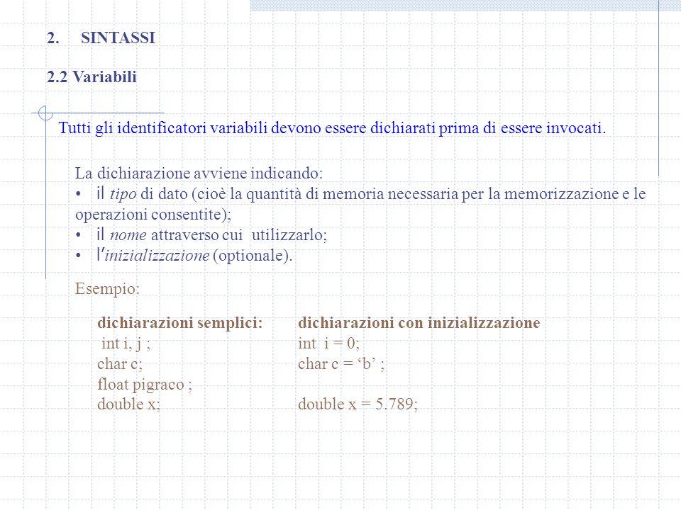 SINTASSI 2.2 Variabili. Tutti gli identificatori variabili devono essere dichiarati prima di essere invocati.