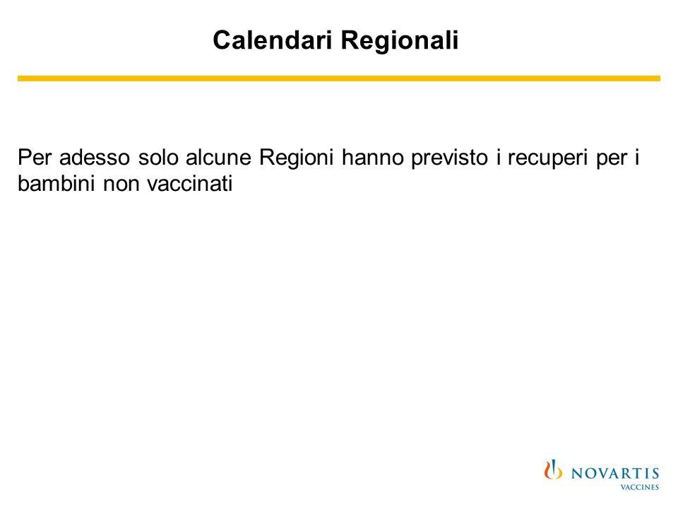Calendari Regionali Per adesso solo alcune Regioni hanno previsto i recuperi per i bambini non vaccinati.