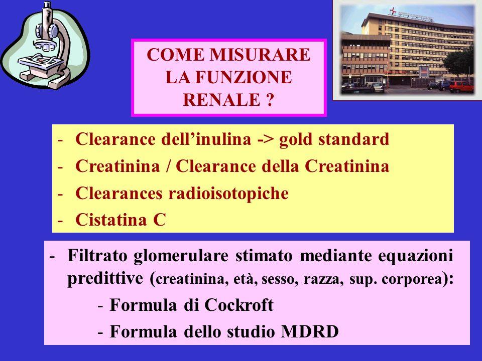 COME MISURARE LA FUNZIONE. RENALE Clearance dell'inulina -> gold standard. Creatinina / Clearance della Creatinina.