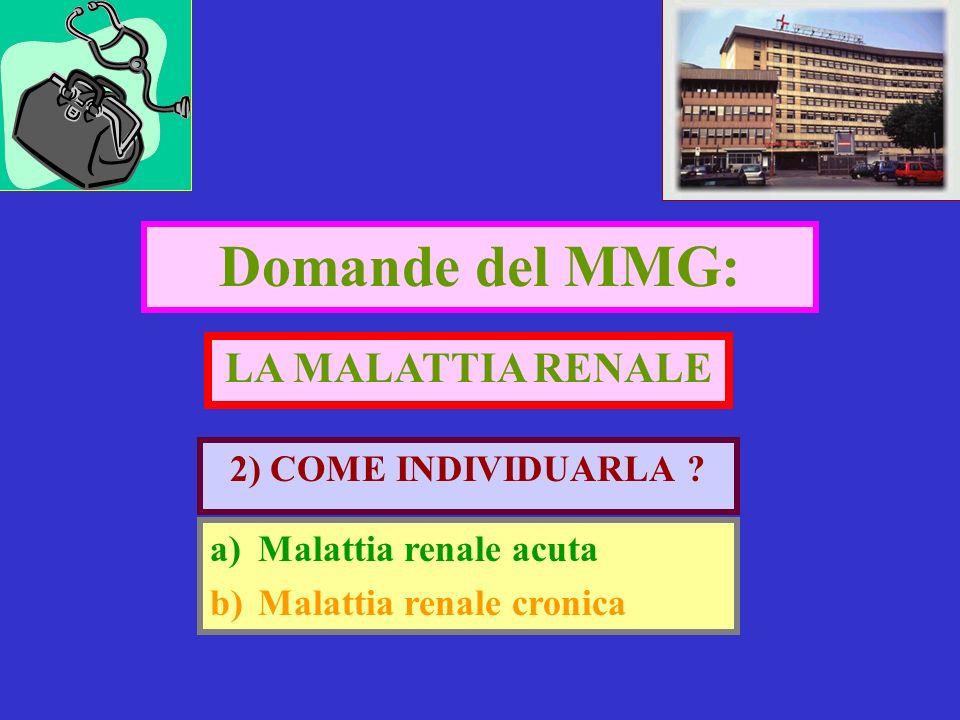 Domande del MMG: LA MALATTIA RENALE 2) COME INDIVIDUARLA