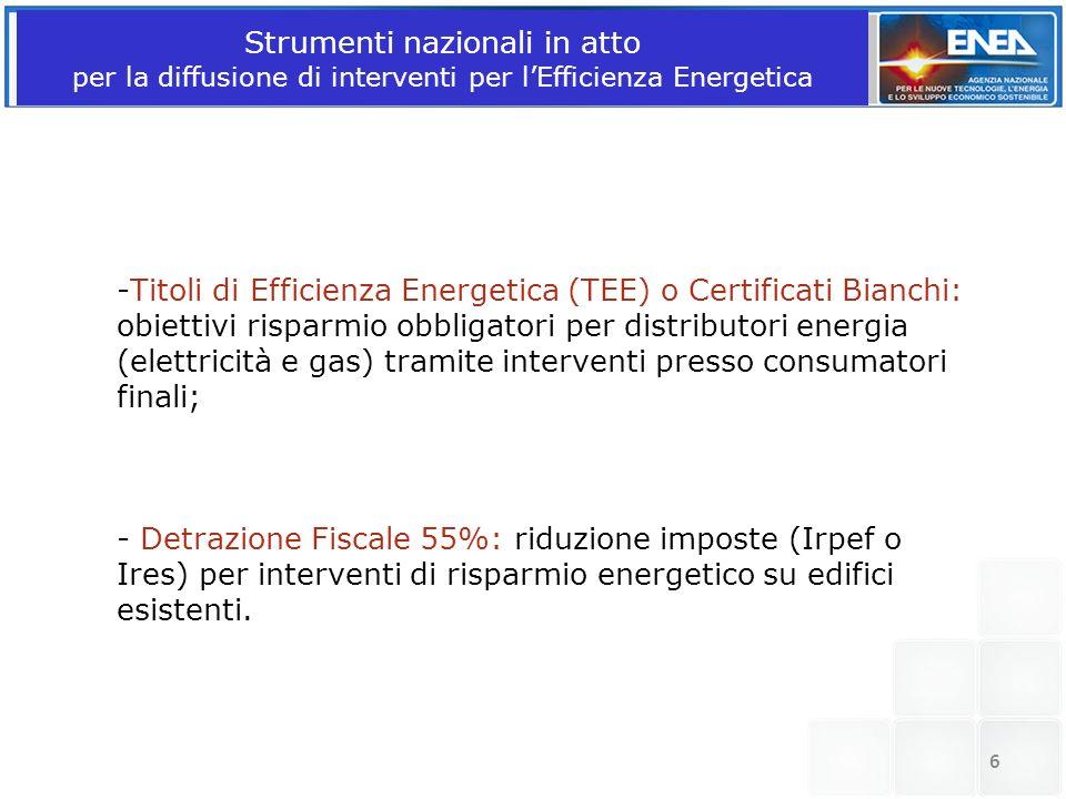 Strumenti nazionali in atto per la diffusione di interventi per l'Efficienza Energetica