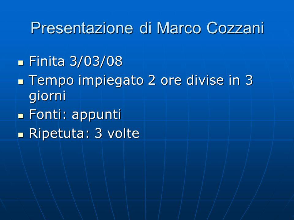 Presentazione di Marco Cozzani