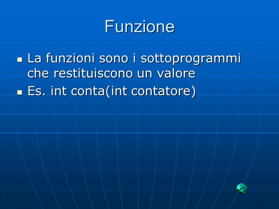 Funzione La funzioni sono i sottoprogrammi che restituiscono un valore