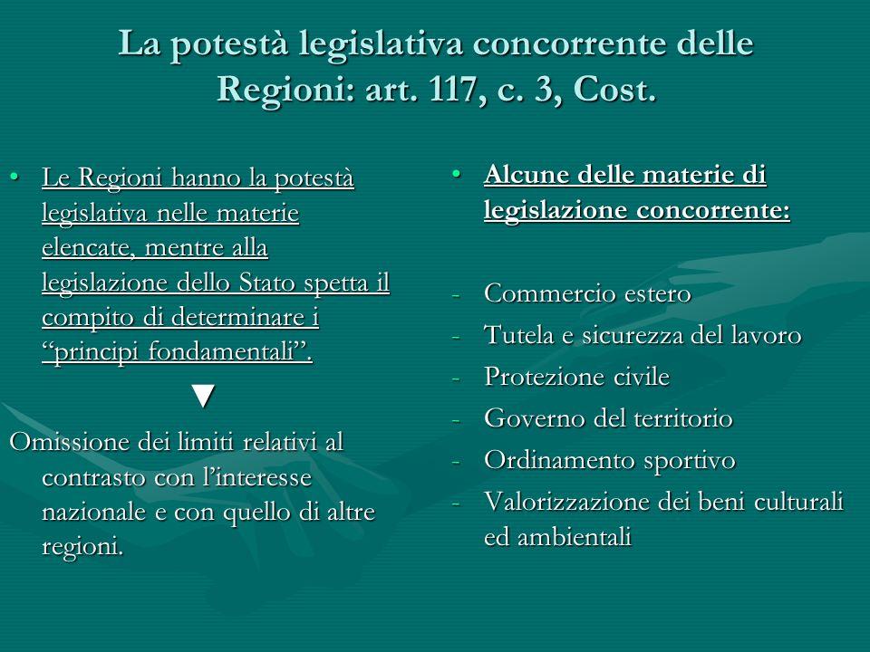 La potestà legislativa concorrente delle Regioni: art. 117, c. 3, Cost.