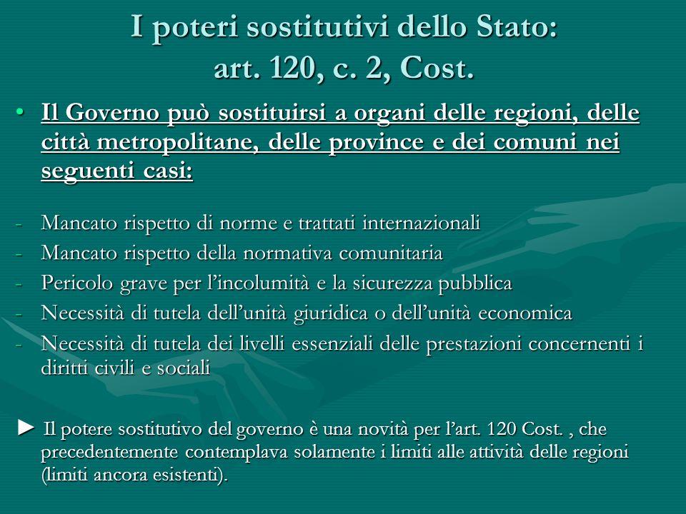 I poteri sostitutivi dello Stato: art. 120, c. 2, Cost.