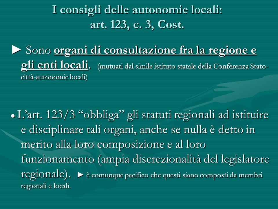 I consigli delle autonomie locali: art. 123, c. 3, Cost.