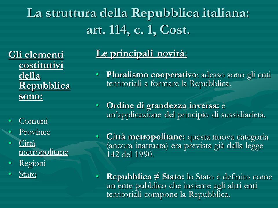 La struttura della Repubblica italiana: art. 114, c. 1, Cost.