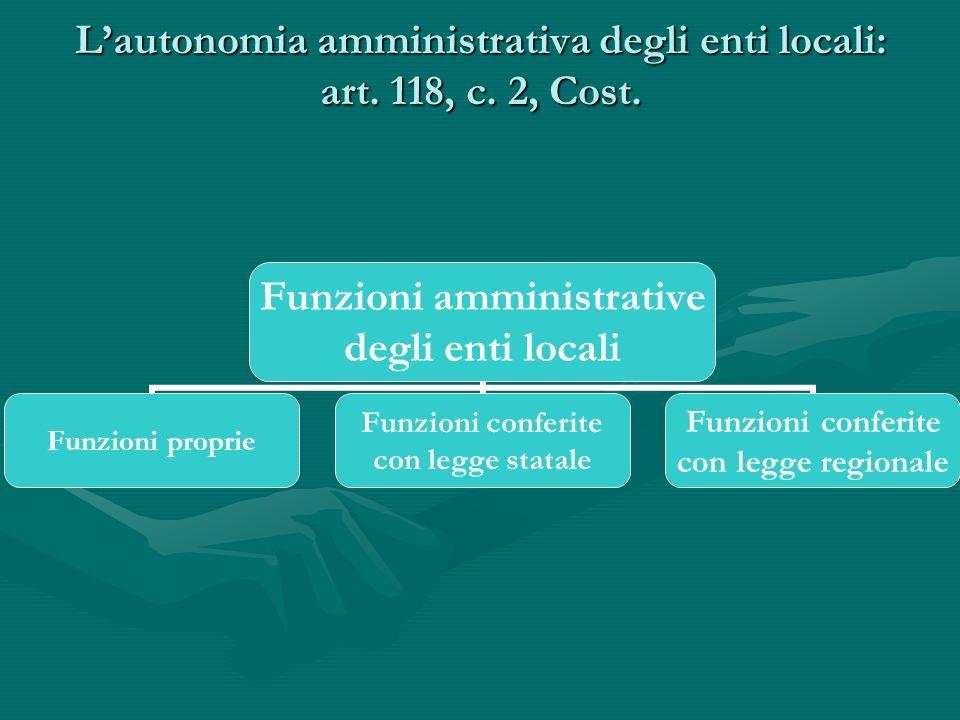 L'autonomia amministrativa degli enti locali: art. 118, c. 2, Cost.