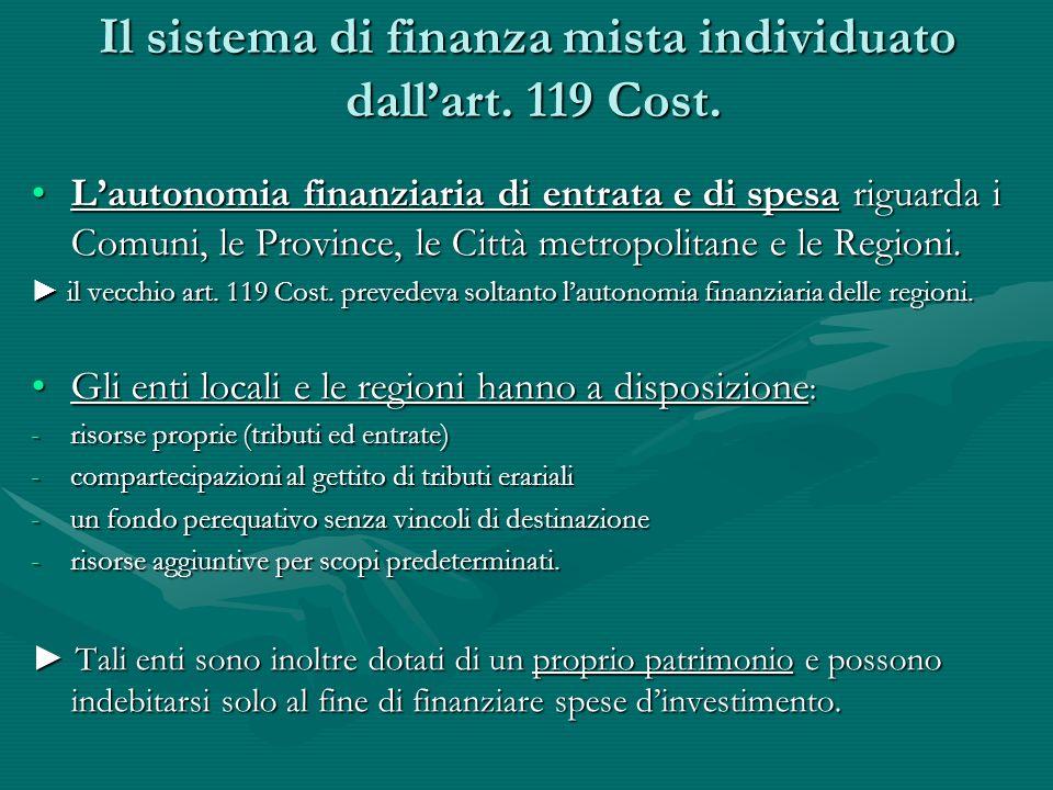 Il sistema di finanza mista individuato dall'art. 119 Cost.