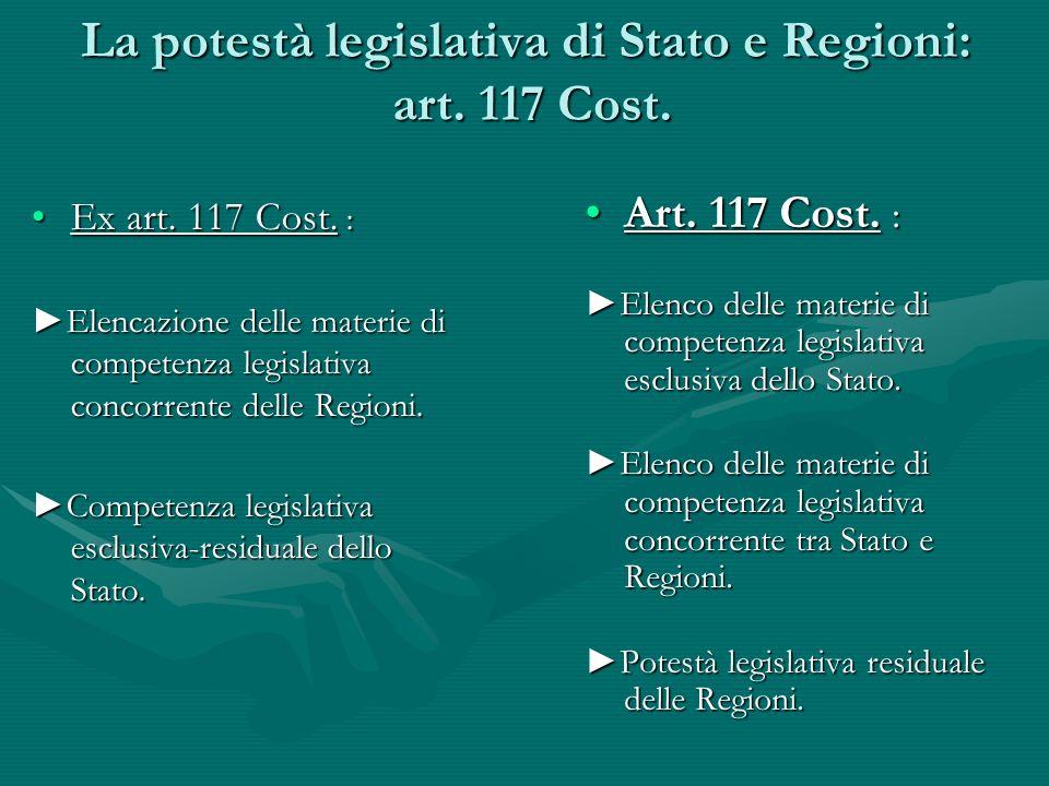La potestà legislativa di Stato e Regioni: art. 117 Cost.