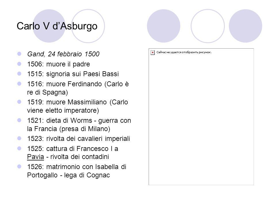 Carlo V d'Asburgo Gand, 24 febbraio 1500 1506: muore il padre