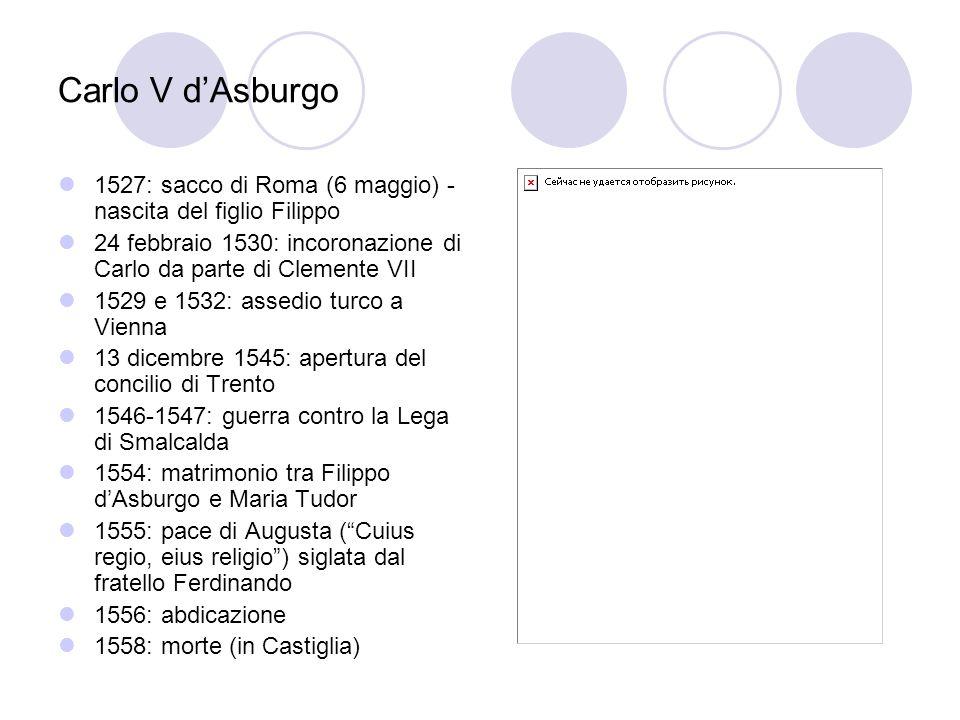 Carlo V d'Asburgo 1527: sacco di Roma (6 maggio) - nascita del figlio Filippo. 24 febbraio 1530: incoronazione di Carlo da parte di Clemente VII.