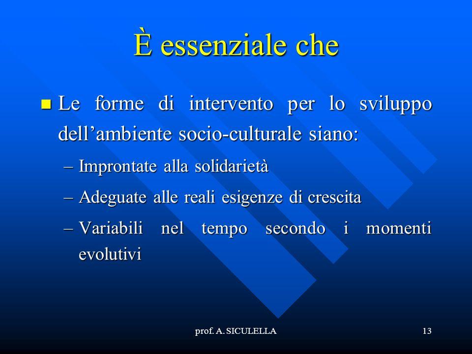 È essenziale che Le forme di intervento per lo sviluppo dell'ambiente socio-culturale siano: Improntate alla solidarietà.