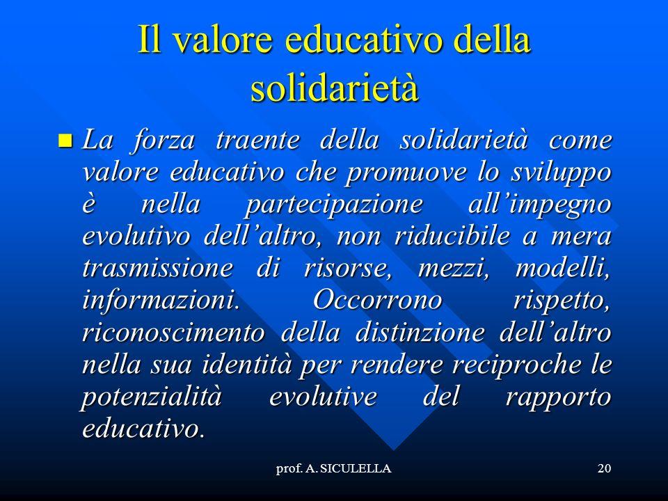 Il valore educativo della solidarietà